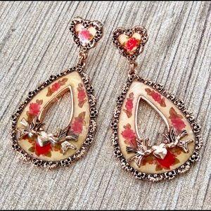 Betsey Johnson Vintage Rose Love Birds Earrings